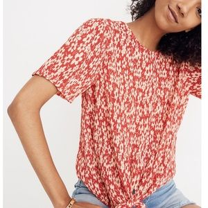 MADEWELL Crinkled Button Back Tie Tee Full Bloom